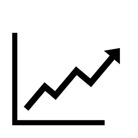 Growing bars graphic icon with rising arrow Vectores