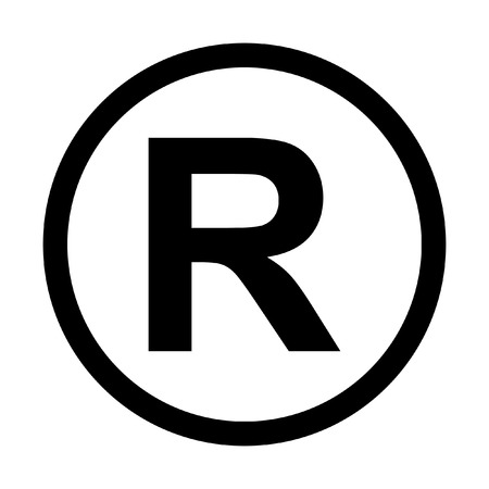 register button: Registered Trademark icon. Isolated on white background