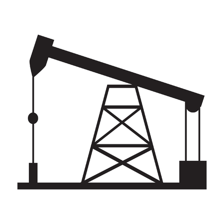 drilling rig: Oil drilling rig silhouette isolated on white background. Vector illustration