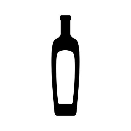 oil bottle: Olive oil bottle silhouette isolated on white background Illustration