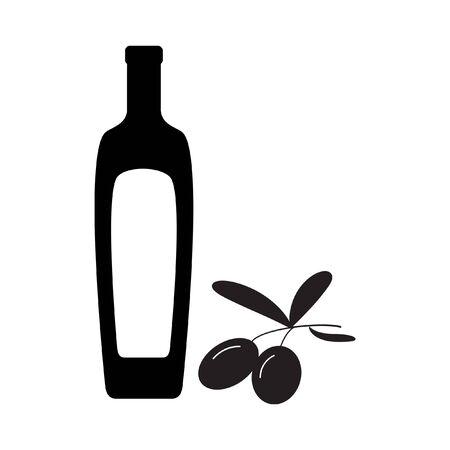 oil bottle: Black olives branch with olive oil bottle silhouette. Illustration