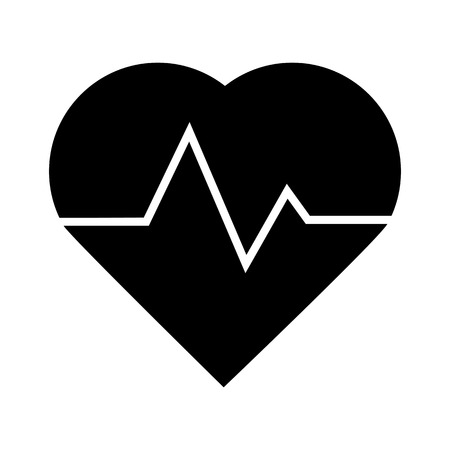 cardiograph: Heartbeat icon isolated on white backround. Vector illustration