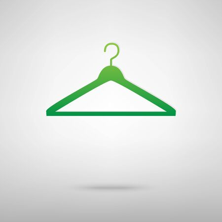 Hanger. Green icon with shadow on the grey backgroud