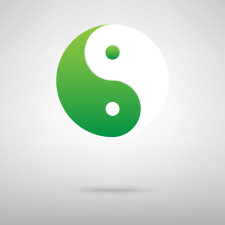 yinyang: Ying yang symbol of harmony and balance. Green icon with shadow on the grey backgroud