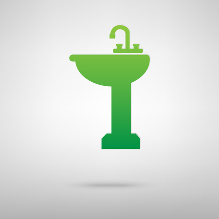 necessity: Bathroom sink. Green icon with shadow on the grey backgroud