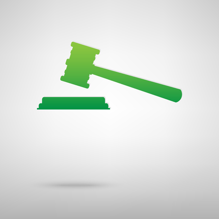 backgroud: Justice hammer. Green icon with shadow on the grey backgroud Illustration