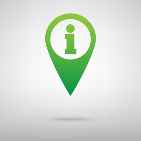 inform information: Map pointer with information icon. Green icon with shadow on the grey backgroud Illustration