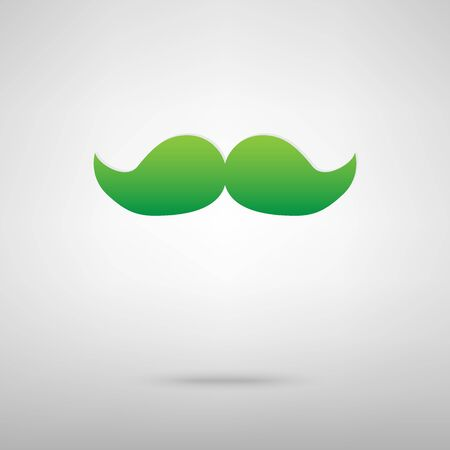 Moustache symbol. Green icon with shadow on the grey backgroud Illustration