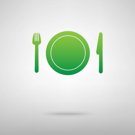 backgroud: Fork, plate and knife. Green icon with shadow on the grey backgroud Illustration