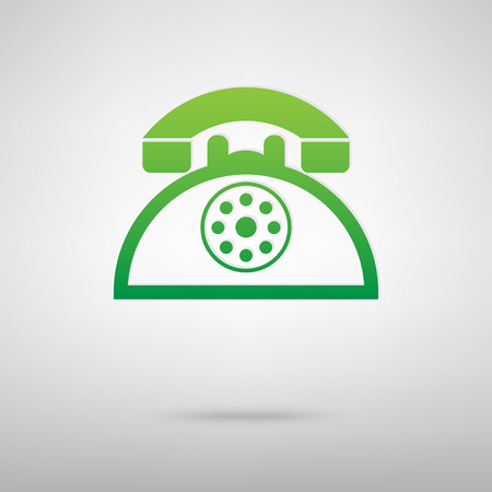 backgroud: Retro telephone. Green icon with shadow on the grey backgroud