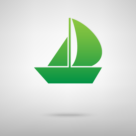 backgroud: Sail Boat. Green icon with shadow on the grey backgroud