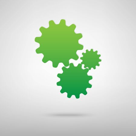 backgroud: Settings. Green icon with shadow on the grey backgroud Illustration