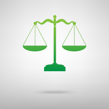 Scales balance. Green icon with shadow on the grey backgroud Stock Illustratie
