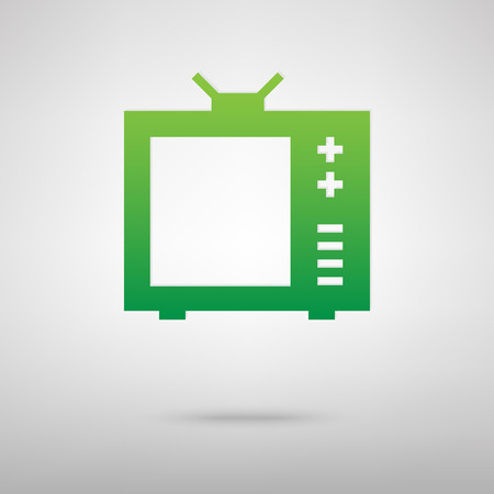 tvset: TV sign. Green icon with shadow on the grey backgroud