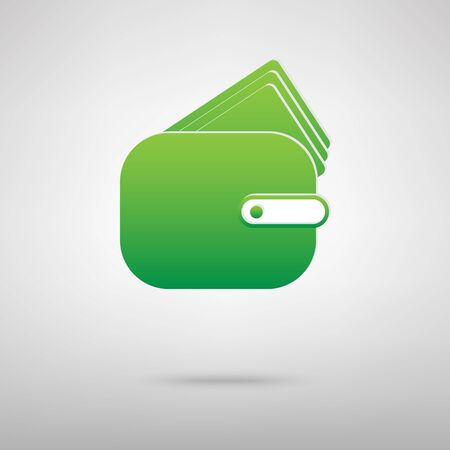 backgroud: Wallet sign. Green icon with shadow on the grey backgroud