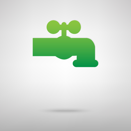spew: The water faucet sign. Green icon with shadow on the grey backgroud Illustration