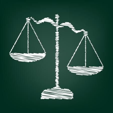 balanza justicia: Escalas de icono de Justicia. Ilustración del vector con efecto tiza Vectores