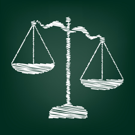 weighing scale: Scales of Justice icon. Vector illustration with chalk effect