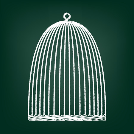 captivity: Bird cage icon. Vector illustration with chalk effect