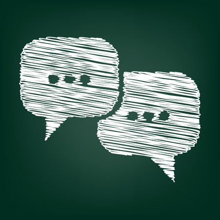 dialog baloon: Speach bubles icon. Vector illustration with chalk effect