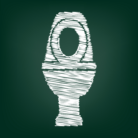 flush toilet: Toilet icon. Vector illustration with chalk effect