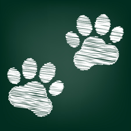 animal tracks: Animal Tracks. Vector illustration with chalk effect