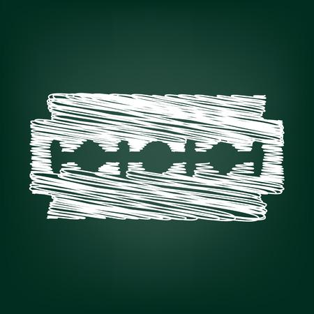 razor blade: Vector razor blade icon with chalk effect Illustration