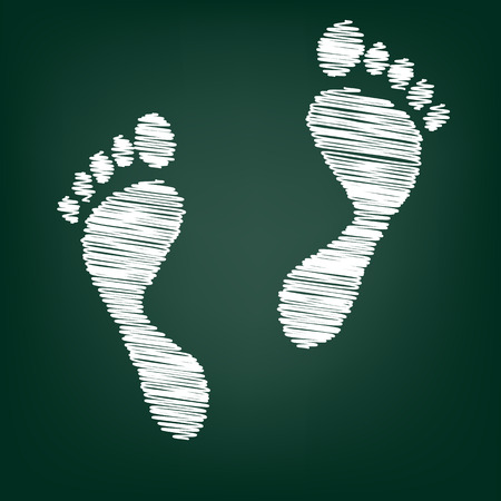 alibi: foot prints. Vector illustration with chalk effect