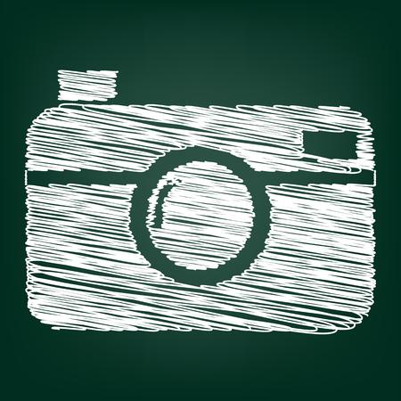 digital photo: digital photo camera icon with chalk effect Illustration