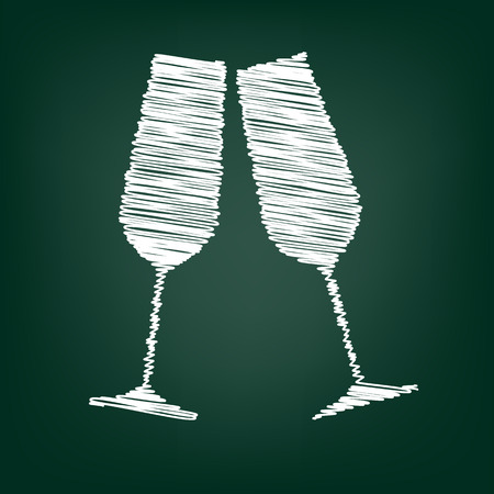 champagne glass: Conceptual vector illustration of sparkling champagne glasses with chalk effect