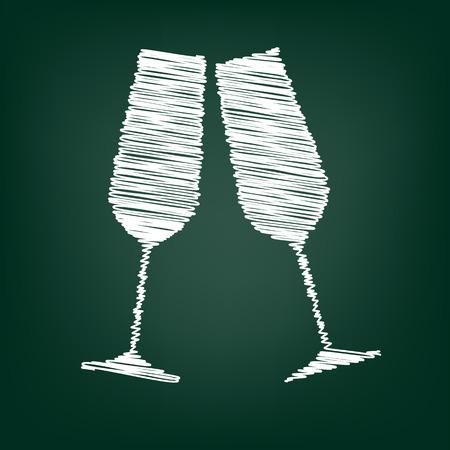 sektglas: Konzeptionelle Vektor-Illustration der Champagner-Gläser mit Kreideeffekt Illustration