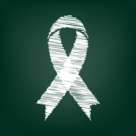 cancer ribbon: Awareness ribbon icon. Vector illustration with chalk effect