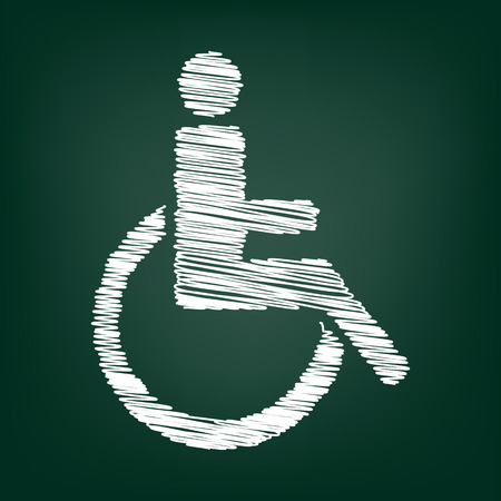 one man only: Disabled icon. Vector illustration with chalk effect Illustration