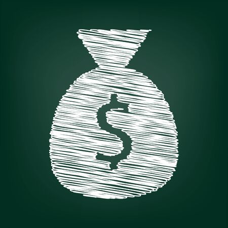 dollar bag: Money bag icon. Vector illustration with chalk effect