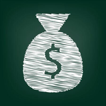 Money bag icône. Vector illustration avec effet de craie