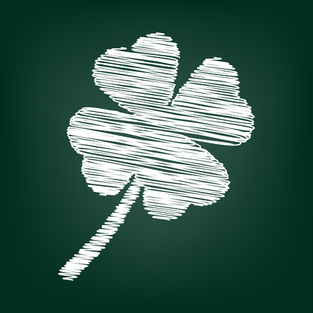 17th: Clover leaf  icon. Vector illustration with chalk effect