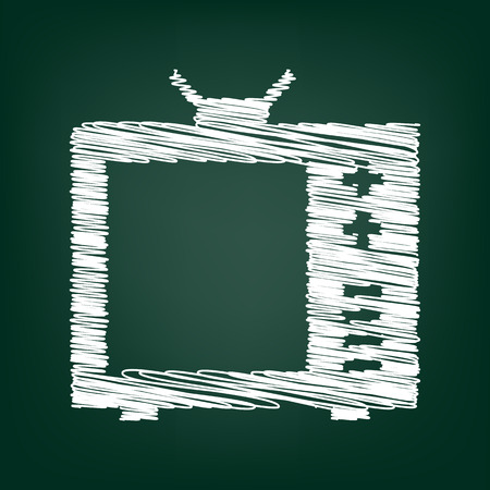 tvset: TV icon. Vector illustration with chalk effect
