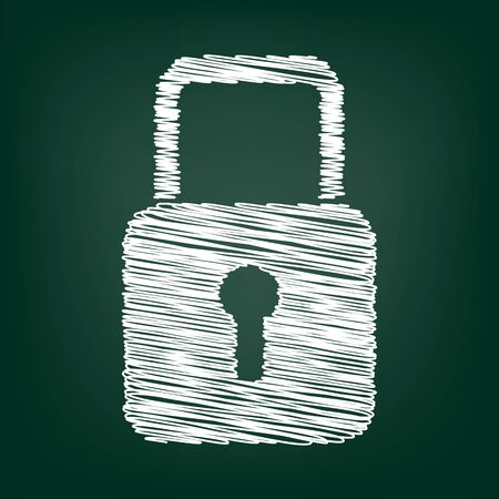 lock: Lock icon. Vector illustration with chalk effect