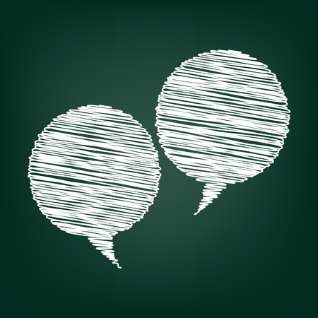 illustrates: Speech bubble icon. Vector illustration with chalk effect