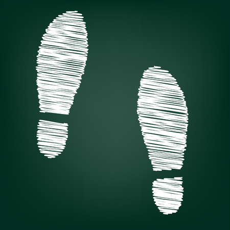 shoeprint: Imprint soles shoes icon with chalk effect