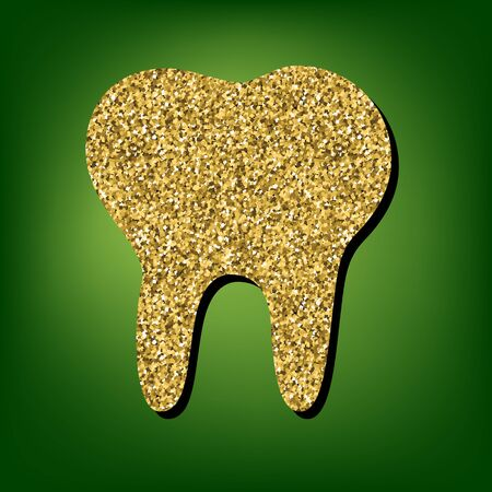 toothcare: Tooth  illustration. Golden shiny texture on the green background