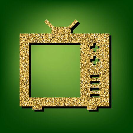 tvset: TV sign illustration. Golden shiny texture on the green background