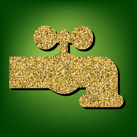 spew: The water faucet  illustration. Golden shiny texture on the green background