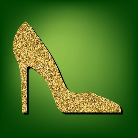 ladies shoes: Woman shoe illustration. Golden shiny texture on the green background