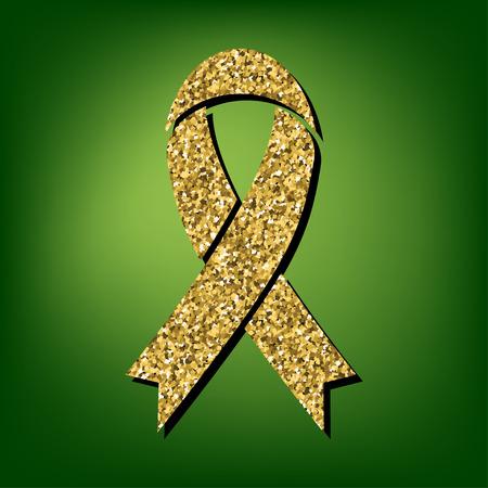 substance abuse awareness: Black awareness ribbon  illustration. Golden shiny texture on the green background Illustration