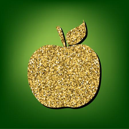 golden apple: Apple  illustration. Golden shiny texture on the green background
