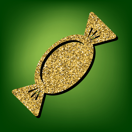 sweetness: Candy icon. Golden shiny texture on the green background