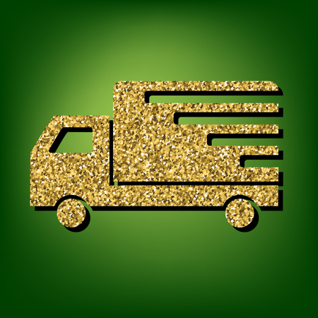 waggon: Delivery illustration. Golden shiny texture on the green background