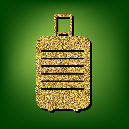 suit case: Luggage symbol illustration. Golden shiny texture on the green background Illustration