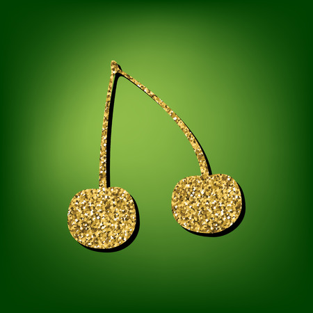 biological: Cherry  illustration. Golden shiny texture on the green background